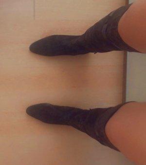 Kniehoge laarzen zwart bruin