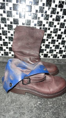 Buskins dark brown-blue leather