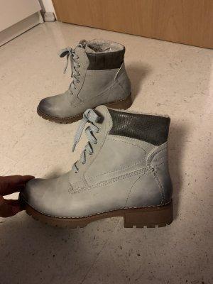 Bottes à lacets gris clair-gris