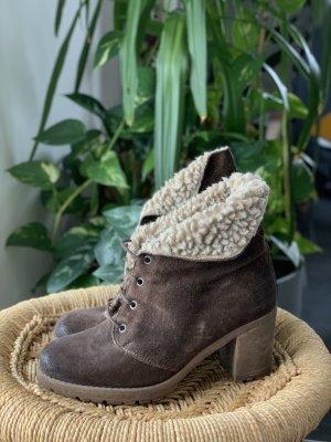 Stiefel 38 Raffles Boots braun (Wild)Leder Fell mit Absatz Gr.38