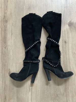 Buffalo Heel Boots black-silver-colored