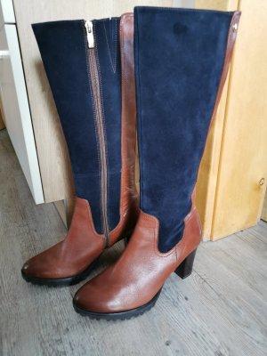 Caprice Heel Boots brown-dark blue leather