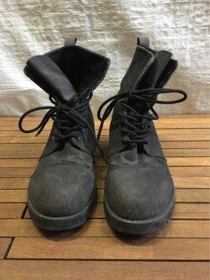 Bershka Bottes à lacets gris anthracite-gris foncé