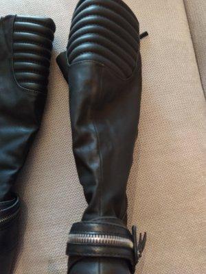 Wysokie buty na obcasie czarny Skóra