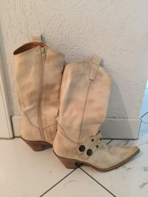 Studio Buty w stylu western kremowy-brązowy Skóra