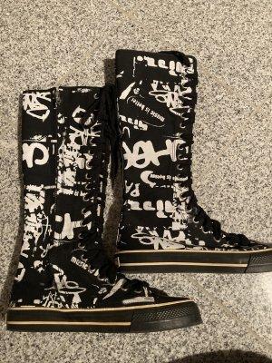 Underground Aanrijg laarzen wit-zwart
