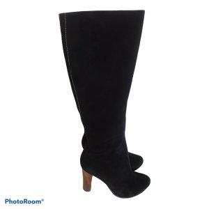 Botas de tacón alto negro-coñac