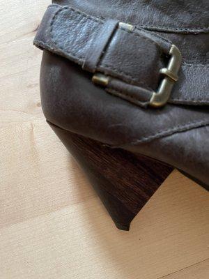 Zara Peep Toe Booties dark brown