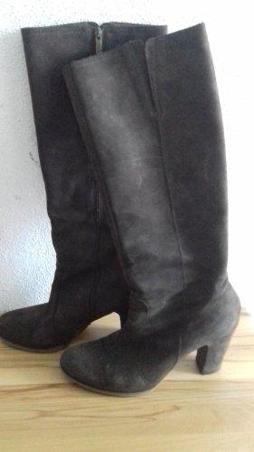 Buty na obcasie brązowy Skóra