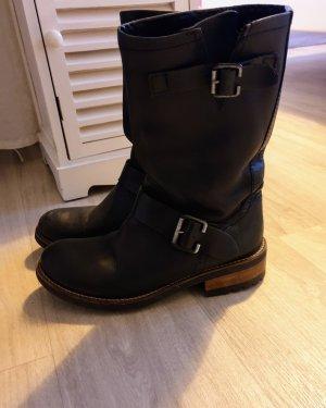 Bottes stretch noir cuir