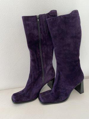 Wysokie buty na obcasie ciemny fiolet