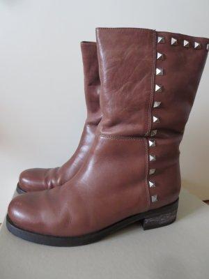 Janet & Janet Buskins cognac-coloured leather