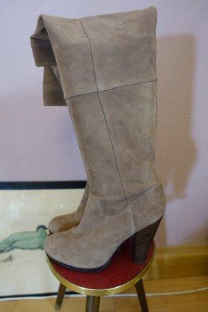 Stiefel, Blockabsatz, Leder, Weitschaft, braun, kaum getragen, H&M, Lederstiefel