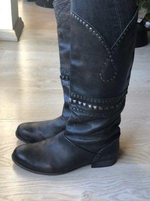 Stiefel blogger Leder Nieten Gr 40 Used Look