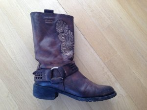 Botte courte gris brun-gris foncé cuir