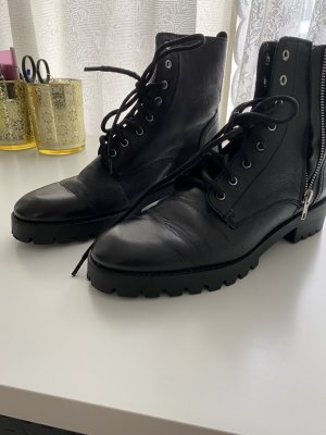 Stiefel Boots Leder Mango Gr.41 1xgetragen. Top Zustand nagelneu  schwarz stylisch Reißverschluss Mango !!!
