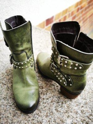 Stiefel Boots Nieten Leder grün