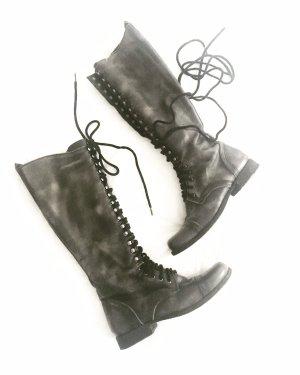 stiefel • boots • schnürstiefel • steve madden • boho • hippie • grau • anthrazit • usedlook • leder