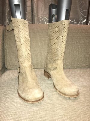 Slouch Boots cream-camel suede