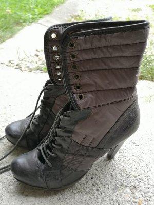 Tamaris Wysokie buty na obcasie brązowy-czarno-brązowy
