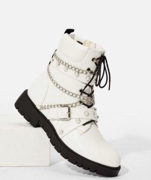 JustFab Botas con cordones blanco-color plata