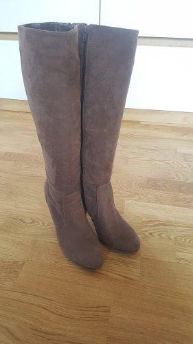 Deichmann Wysokie buty na obcasie szaro-brązowy