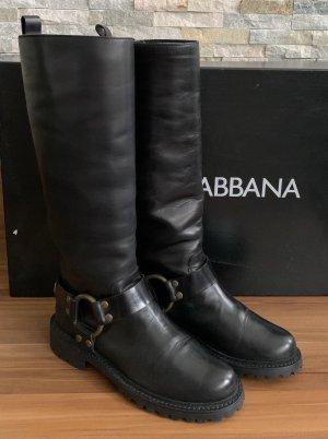 Dolce & Gabbana Botas de combate negro Cuero