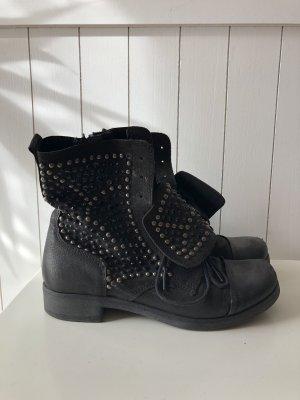 Aanrijg laarzen zwart-zilver