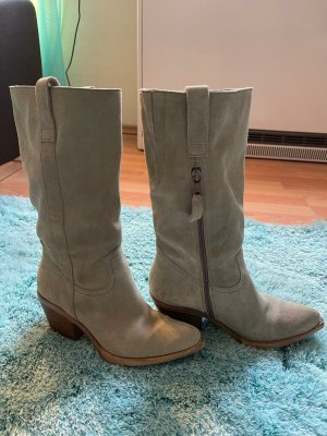 Western Booties green grey leather