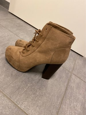 H&M Divided Lace-up Boots camel-beige