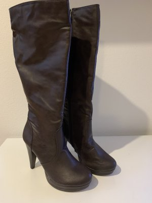 SDS Botas de tacón alto marrón-negro-marrón oscuro