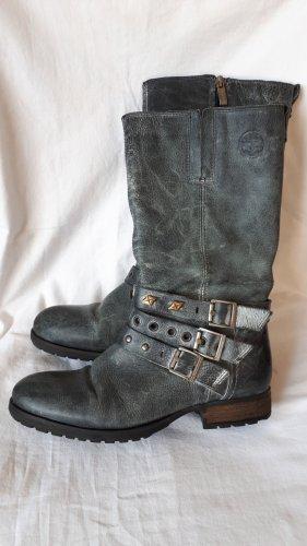 Tamaris Western Boots grey-neon blue