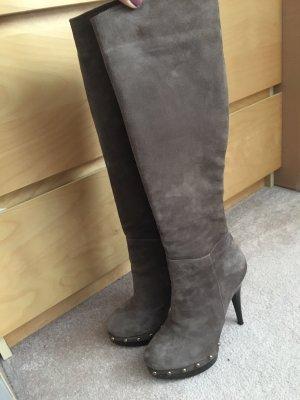 Stiefel grau wildleder 35 Nieten gefuttert warm Absatz