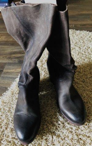 Café Noir Wide Calf Boots black brown leather