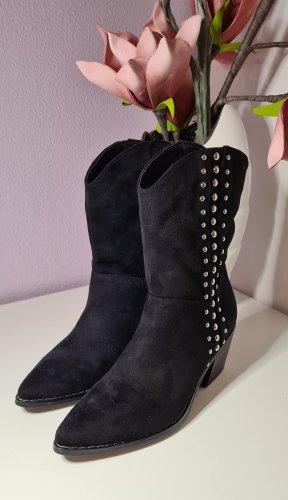 Stiefel im Cowboy Style - Größe 36 - Catwalk - schwarz/silber - neu