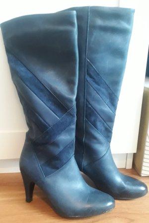 Akira Bottes à talon bleu-bleu acier cuir