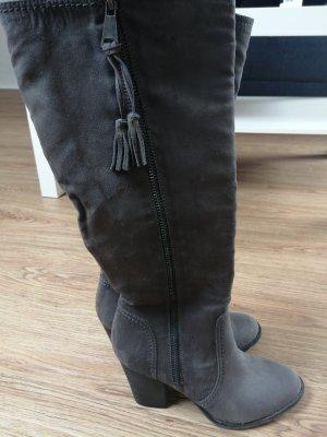Graceland Heel Boots dark grey mixture fibre