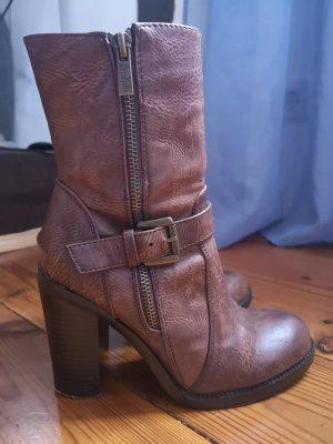 Jenny Fairy Heel Boots cognac-coloured mixture fibre