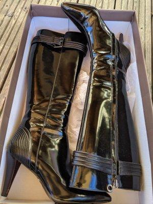 Stiefel komplett aus Leder echt Leder glattleder lackleder von Hugo Boss Größe 37 elegant edel hoher Neupreis Absatz 8cm