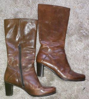 Stiefel, Leder, braun/cognac,Größe 39,5