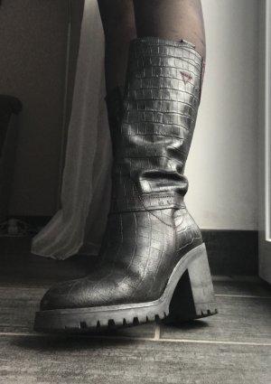 Red-Rag Wide Calf Boots black-bordeaux
