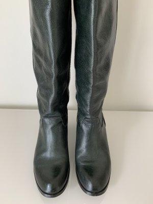 Vera Gomma Wide Calf Boots dark green leather