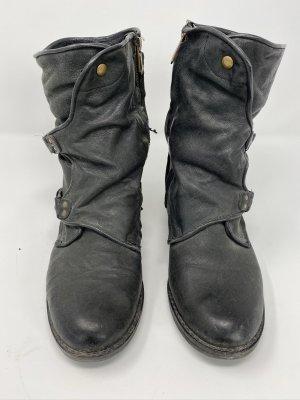 Stiefel Leder schwarz Gr. 37 mit Schnallen sam Edelmann