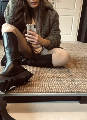 Zara Platform Boots black leather
