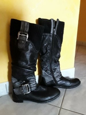 Botas moteras negro-color plata