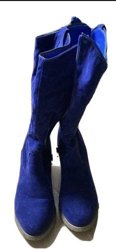 Stivale western blu-marrone chiaro
