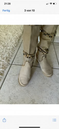 Boots western beige cuir