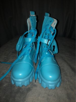Stivale con plateau blu neon Poliestere