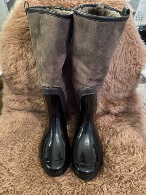 Futrzane buty jasnobrązowy-czarno-brązowy