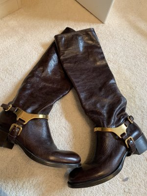 Prada Riding Boots brown red